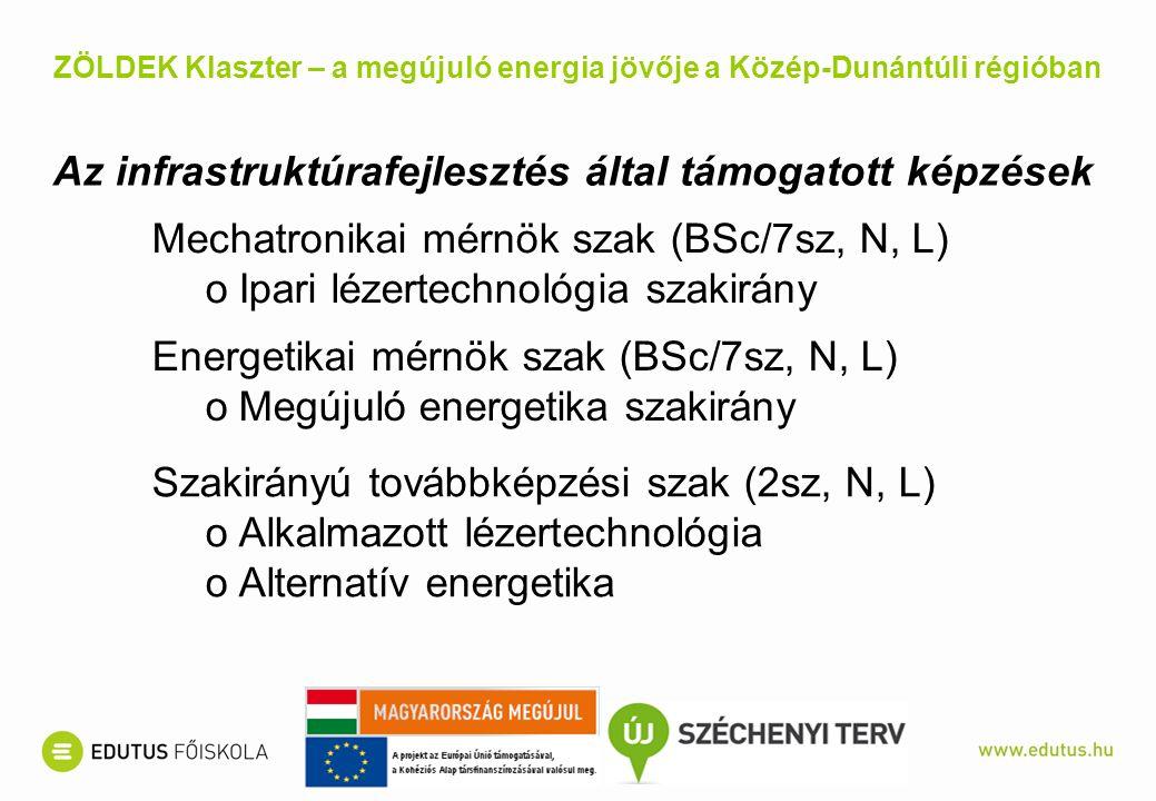 Az infrastruktúrafejlesztés által támogatott képzések Mechatronikai mérnök szak (BSc/7sz, N, L) oIpari lézertechnológia szakirány Energetikai mérnök szak (BSc/7sz, N, L) oMegújuló energetika szakirány Szakirányú továbbképzési szak (2sz, N, L) oAlkalmazott lézertechnológia oAlternatív energetika ZÖLDEK Klaszter – a megújuló energia jövője a Közép-Dunántúli régióban