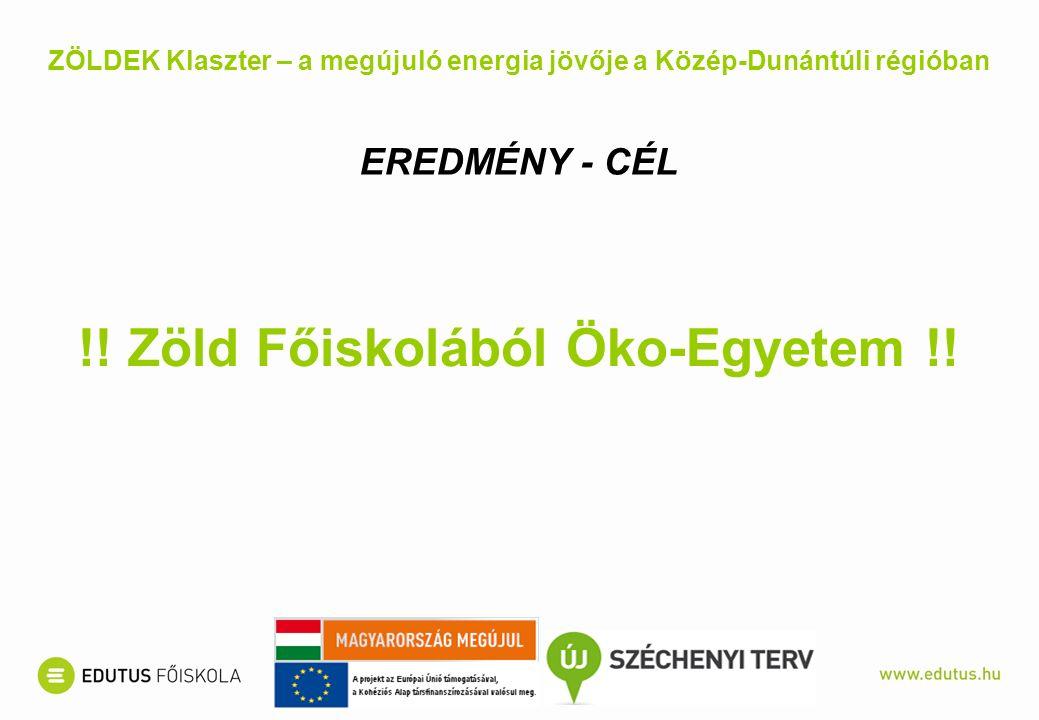 ZÖLDEK Klaszter – a megújuló energia jövője a Közép-Dunántúli régióban EREDMÉNY - CÉL !! Zöld Főiskolából Öko-Egyetem !!