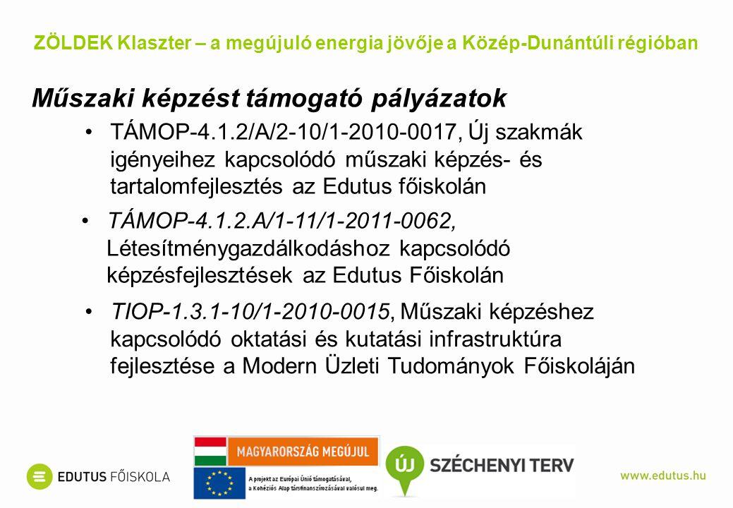 TÁMOP-4.1.2/A/2-10/1-2010-0017, Új szakmák igényeihez kapcsolódó műszaki képzés- és tartalomfejlesztés az Edutus főiskolán ZÖLDEK Klaszter – a megújuló energia jövője a Közép-Dunántúli régióban Műszaki képzést támogató pályázatok TÁMOP-4.1.2.A/1-11/1-2011-0062, Létesítménygazdálkodáshoz kapcsolódó képzésfejlesztések az Edutus Főiskolán TIOP-1.3.1-10/1-2010-0015, Műszaki képzéshez kapcsolódó oktatási és kutatási infrastruktúra fejlesztése a Modern Üzleti Tudományok Főiskoláján