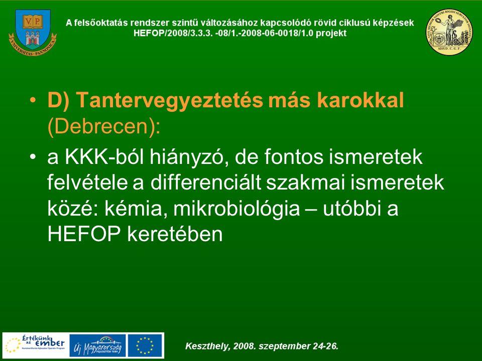 D) Tantervegyeztetés más karokkal (Debrecen): a KKK-ból hiányzó, de fontos ismeretek felvétele a differenciált szakmai ismeretek közé: kémia, mikrobio