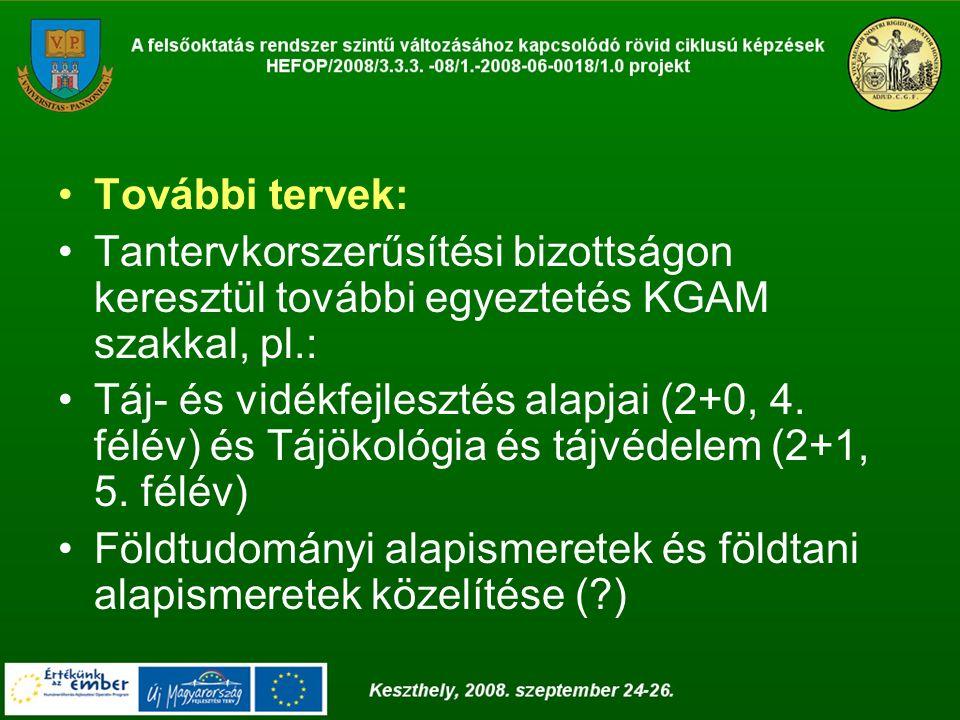 További tervek: Tantervkorszerűsítési bizottságon keresztül további egyeztetés KGAM szakkal, pl.: Táj- és vidékfejlesztés alapjai (2+0, 4. félév) és T