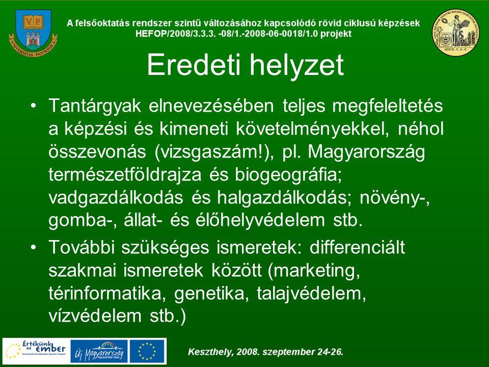 Eredeti helyzet Tantárgyak elnevezésében teljes megfeleltetés a képzési és kimeneti követelményekkel, néhol összevonás (vizsgaszám!), pl. Magyarország