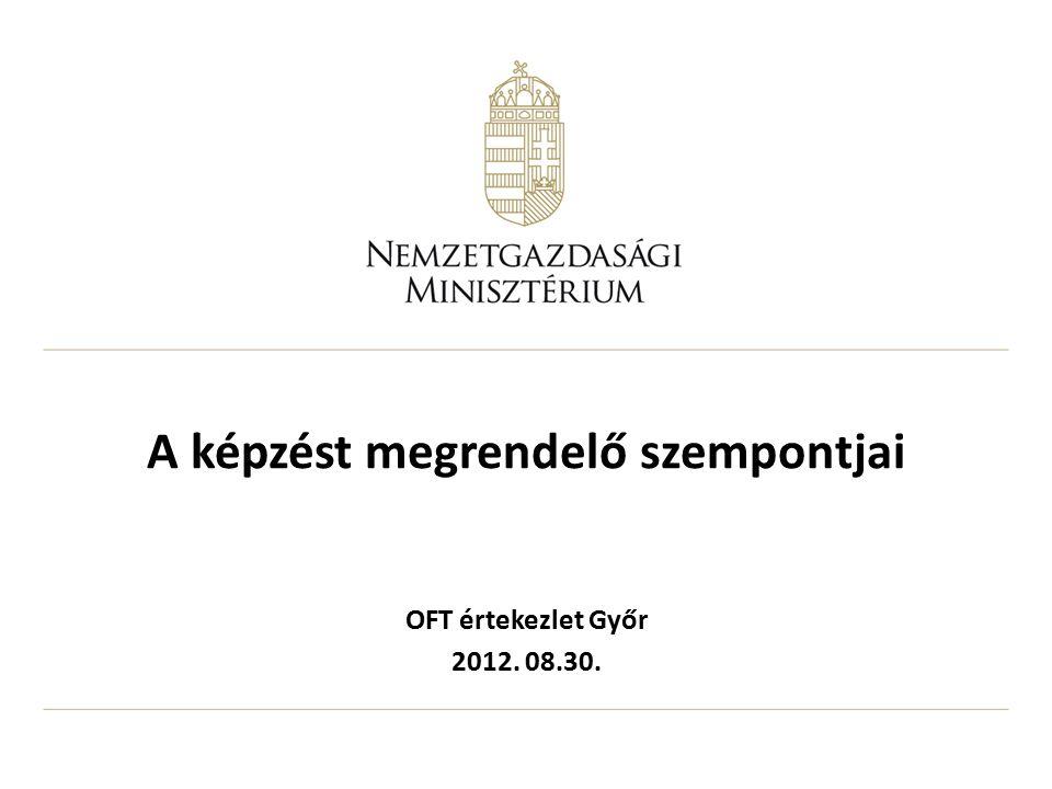 A képzést megrendelő szempontjai OFT értekezlet Győr 2012. 08.30.
