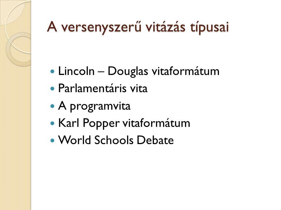 A versenyszerű vitázás típusai Lincoln – Douglas vitaformátum Parlamentáris vita A programvita Karl Popper vitaformátum World Schools Debate