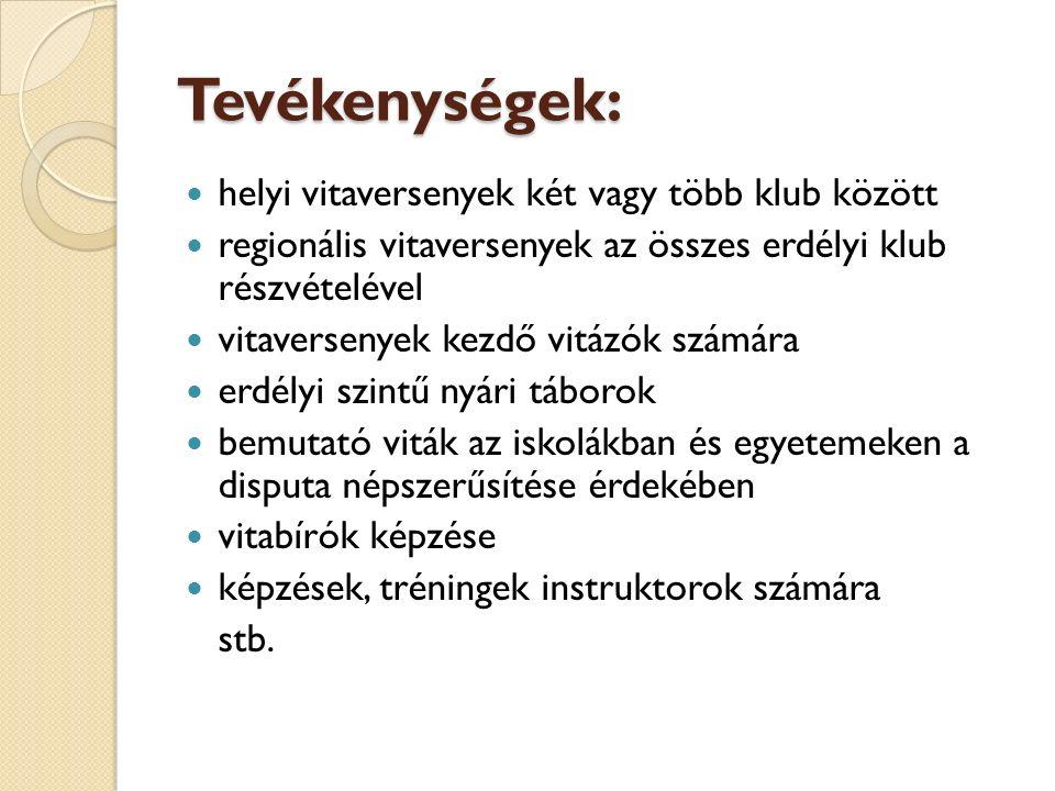 Tevékenységek: helyi vitaversenyek két vagy több klub között regionális vitaversenyek az összes erdélyi klub részvételével vitaversenyek kezdő vitázók számára erdélyi szintű nyári táborok bemutató viták az iskolákban és egyetemeken a disputa népszerűsítése érdekében vitabírók képzése képzések, tréningek instruktorok számára stb.