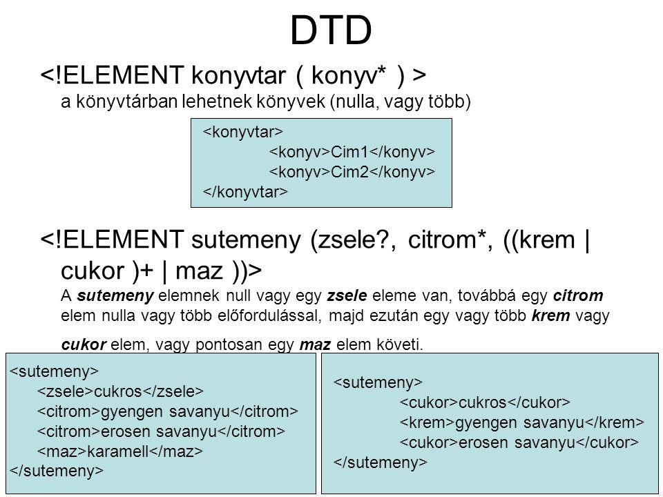 DTD a könyvtárban lehetnek könyvek (nulla, vagy több) A sutemeny elemnek null vagy egy zsele eleme van, továbbá egy citrom elem nulla vagy több előfordulással, majd ezután egy vagy több krem vagy cukor elem, vagy pontosan egy maz elem követi.