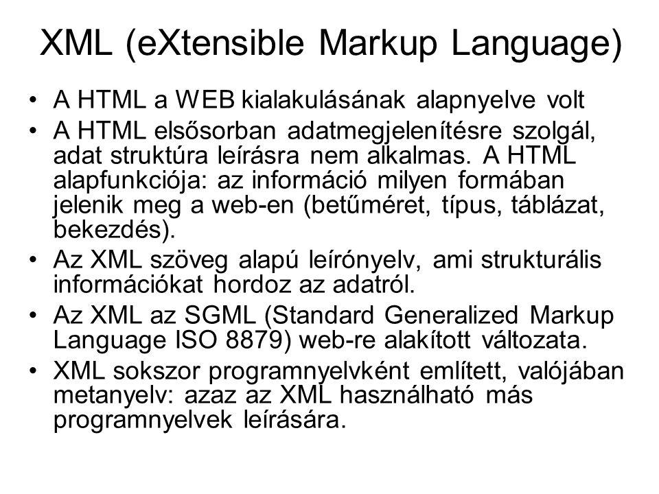 XML (eXtensible Markup Language) A HTML a WEB kialakulásának alapnyelve volt A HTML elsősorban adatmegjelenítésre szolgál, adat struktúra leírásra nem alkalmas.