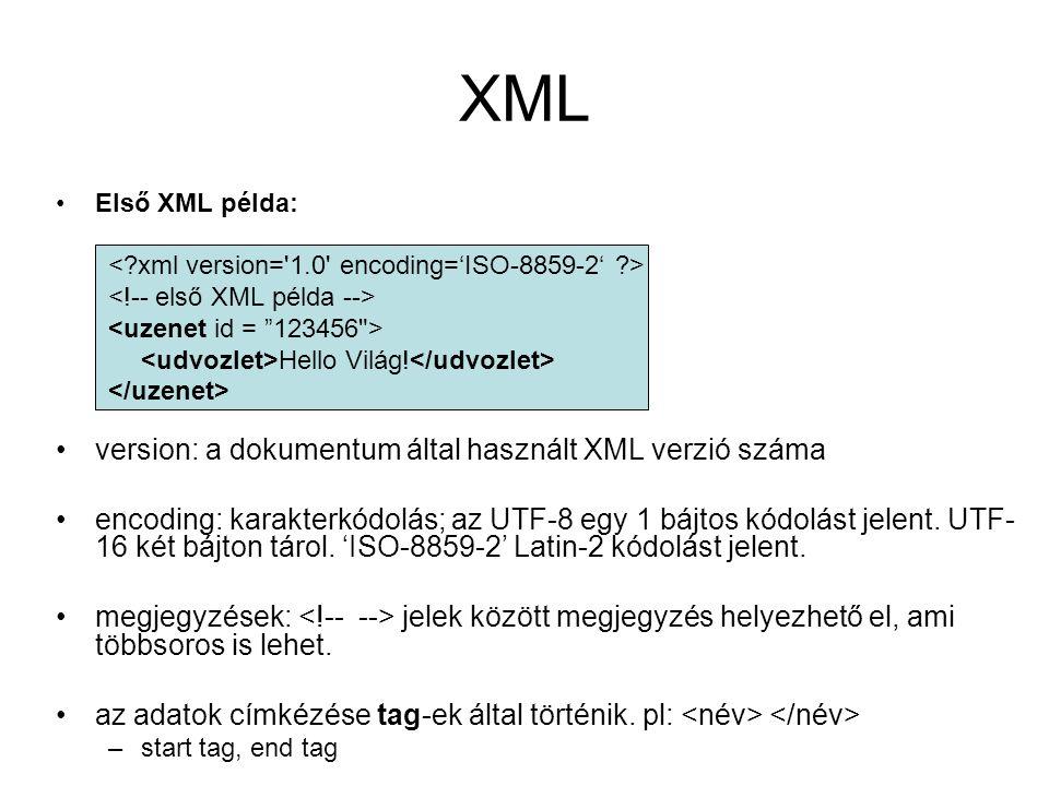 XML Első XML példa: Hello Világ.