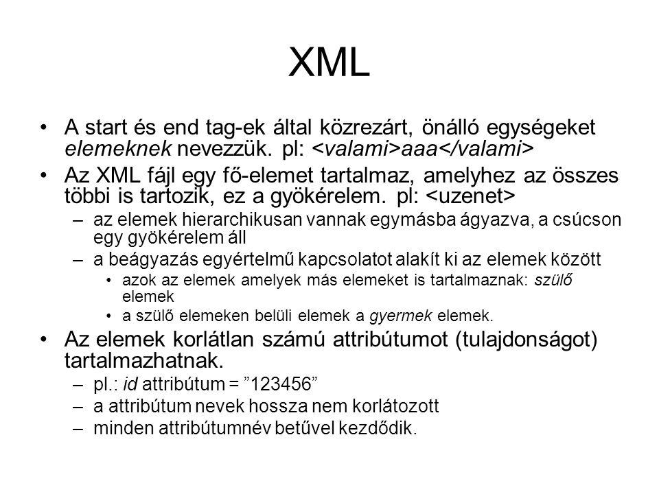 XML A start és end tag-ek által közrezárt, önálló egységeket elemeknek nevezzük.