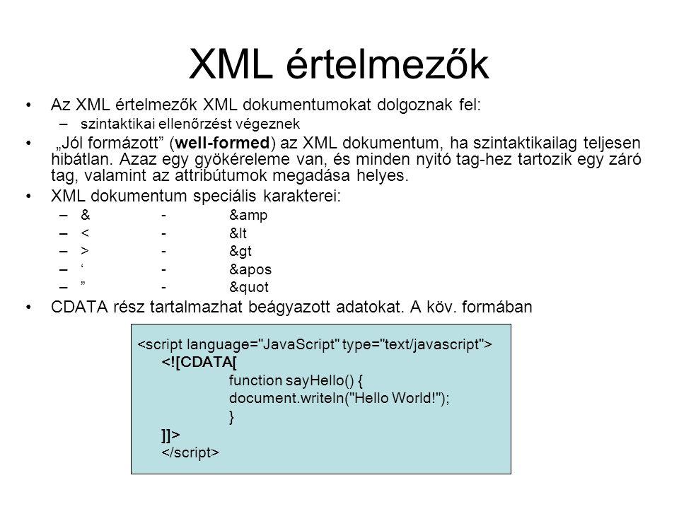 """XML értelmezők Az XML értelmezők XML dokumentumokat dolgoznak fel: –szintaktikai ellenőrzést végeznek """"Jól formázott (well-formed) az XML dokumentum, ha szintaktikailag teljesen hibátlan."""