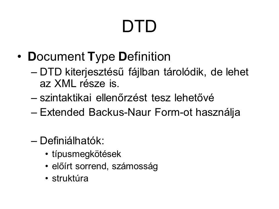 DTD Document Type Definition –DTD kiterjesztésű fájlban tárolódik, de lehet az XML része is.