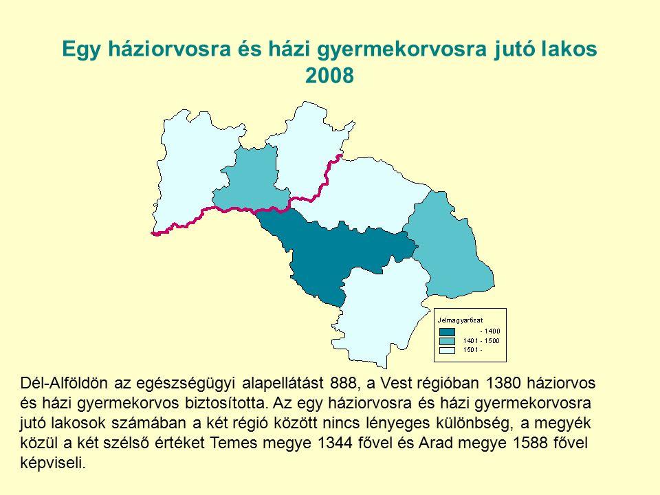 Egy háziorvosra és házi gyermekorvosra jutó lakos 2008 Dél-Alföldön az egészségügyi alapellátást 888, a Vest régióban 1380 háziorvos és házi gyermekorvos biztosította.