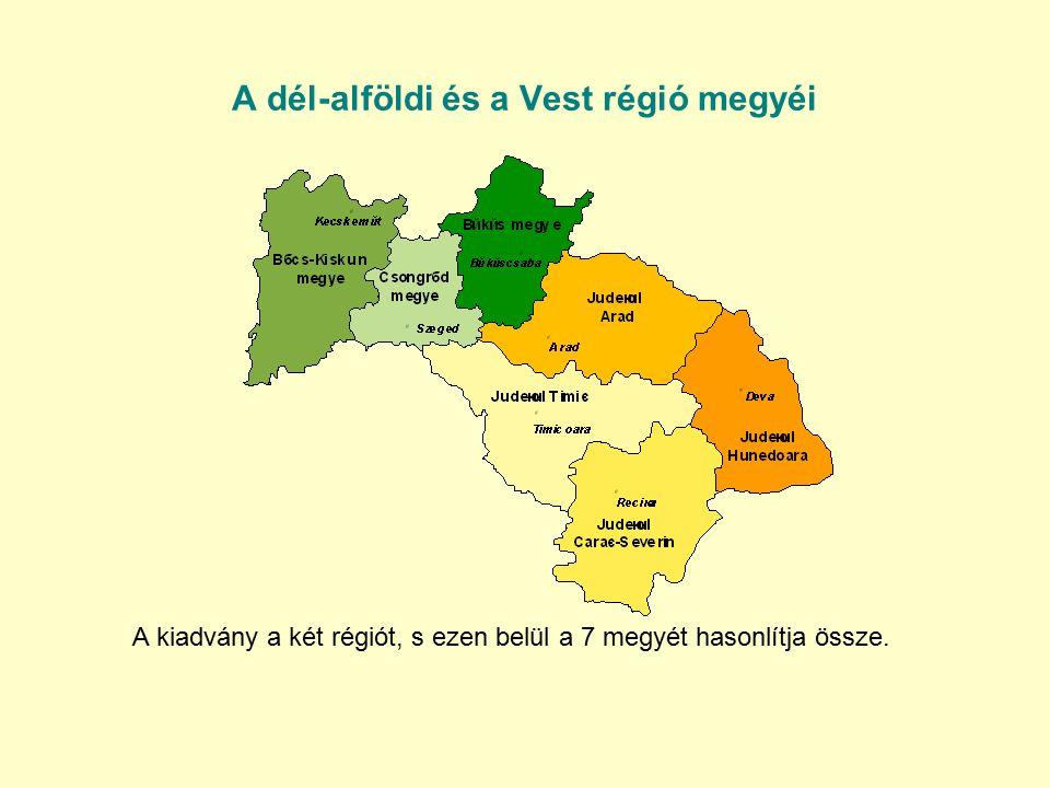 100 hektár mezőgazdasági területre jutó állatállomány 2008 Szarvasmarhából a Dél-Alföldön és a Vest régióban is közel 11 állat jut 100 hektár mezőgazdasági területre, sertésekből a magyar régióban 70, a román régióban viszont alig valamivel több mint 49.