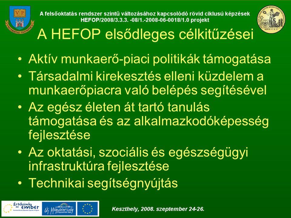 A HEFOP elsődleges célkitűzései Aktív munkaerő-piaci politikák támogatása Társadalmi kirekesztés elleni küzdelem a munkaerőpiacra való belépés segítésével Az egész életen át tartó tanulás támogatása és az alkalmazkodóképesség fejlesztése Az oktatási, szociális és egészségügyi infrastruktúra fejlesztése Technikai segítségnyújtás