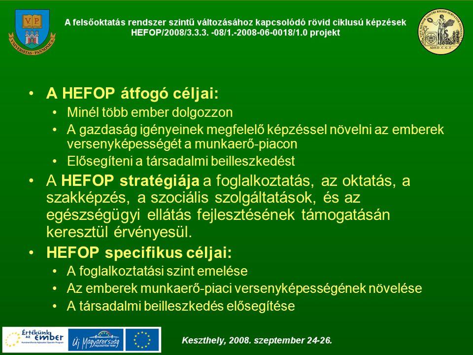 A HEFOP átfogó céljai: Minél több ember dolgozzon A gazdaság igényeinek megfelelő képzéssel növelni az emberek versenyképességét a munkaerő-piacon Elősegíteni a társadalmi beilleszkedést A HEFOP stratégiája a foglalkoztatás, az oktatás, a szakképzés, a szociális szolgáltatások, és az egészségügyi ellátás fejlesztésének támogatásán keresztül érvényesül.
