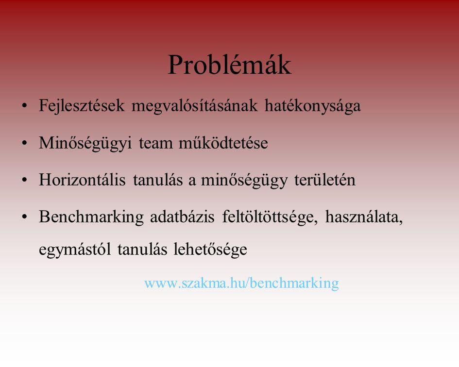 Problémák Fejlesztések megvalósításának hatékonysága Minőségügyi team működtetése Horizontális tanulás a minőségügy területén Benchmarking adatbázis feltöltöttsége, használata, egymástól tanulás lehetősége www.szakma.hu/benchmarking