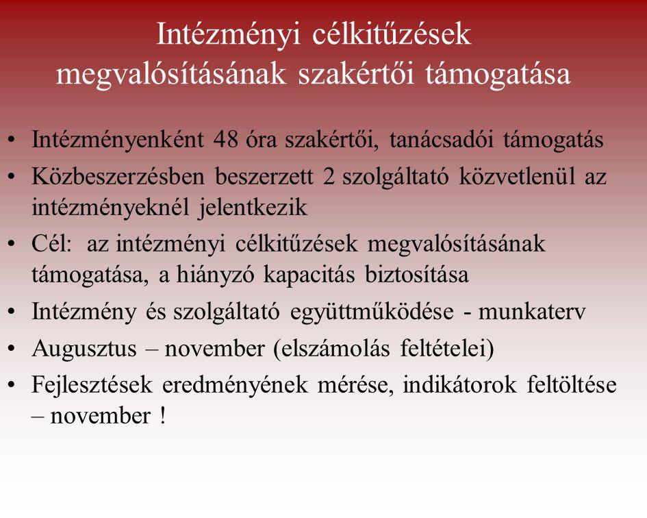 Intézményi célkitűzések megvalósításának szakértői támogatása Intézményenként 48 óra szakértői, tanácsadói támogatás Közbeszerzésben beszerzett 2 szolgáltató közvetlenül az intézményeknél jelentkezik Cél: az intézményi célkitűzések megvalósításának támogatása, a hiányzó kapacitás biztosítása Intézmény és szolgáltató együttműködése - munkaterv Augusztus – november (elszámolás feltételei) Fejlesztések eredményének mérése, indikátorok feltöltése – november !