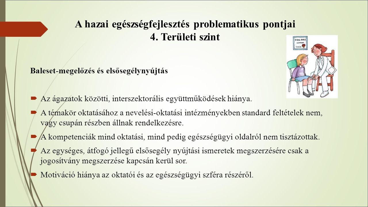 A hazai egészségfejlesztés problematikus pontjai 4. Területi szint Baleset-megelőzés és elsősegélynyújtás  Az ágazatok közötti, interszektorális együ