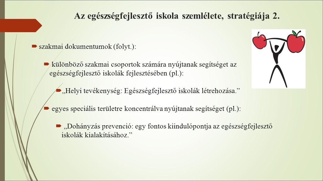 Az egészségfejlesztő iskola szemlélete, stratégiája 2.  szakmai dokumentumok (folyt.):  különböző szakmai csoportok számára nyújtanak segítséget az