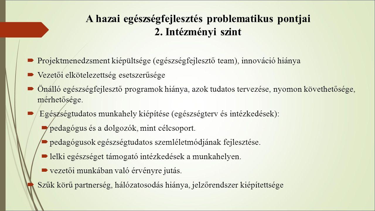 A hazai egészségfejlesztés problematikus pontjai 2. Intézményi szint  Projektmenedzsment kiépültsége (egészségfejlesztő team), innováció hiánya  Vez