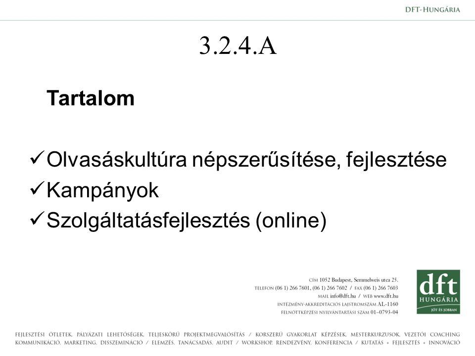 3.2.4.A Tartalom Olvasáskultúra népszerűsítése, fejlesztése Kampányok Szolgáltatásfejlesztés (online)