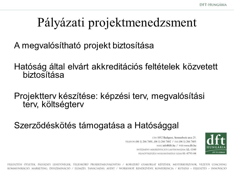Pályázati projektmenedzsment A megvalósítható projekt biztosítása Hatóság által elvárt akkreditációs feltételek közvetett biztosítása Projektterv készítése: képzési terv, megvalósítási terv, költségterv Szerződéskötés támogatása a Hatósággal