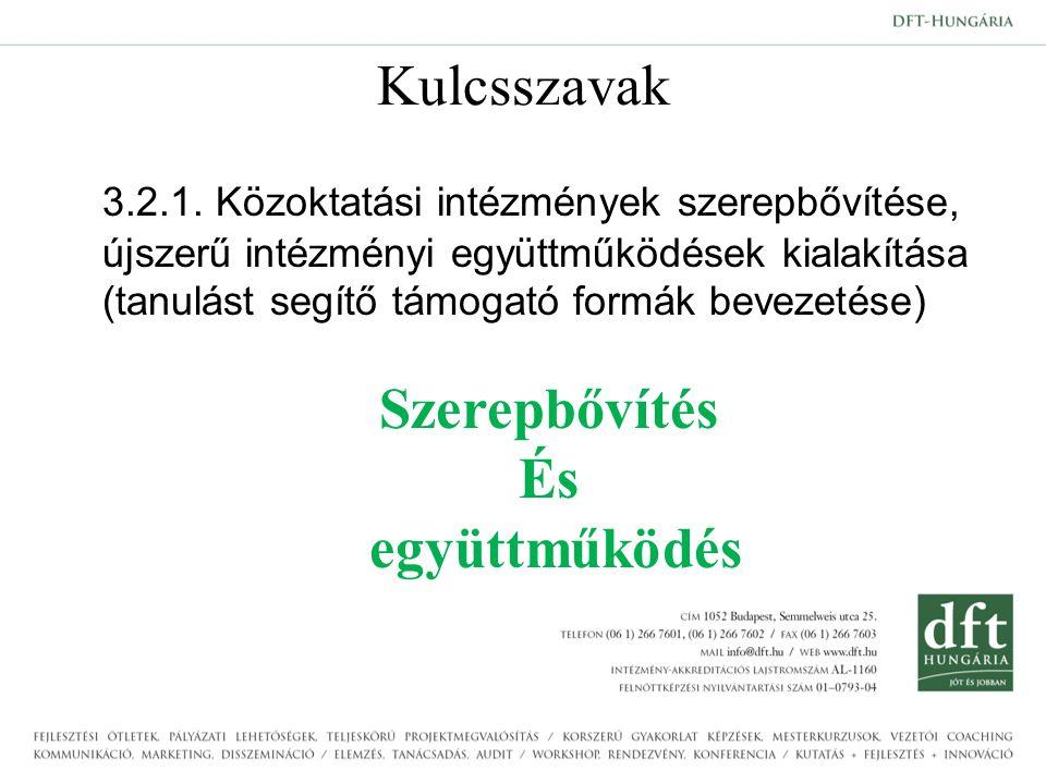 Kulcsszavak 3.2.1. Közoktatási intézmények szerepbővítése, újszerű intézményi együttműködések kialakítása (tanulást segítő támogató formák bevezetése)