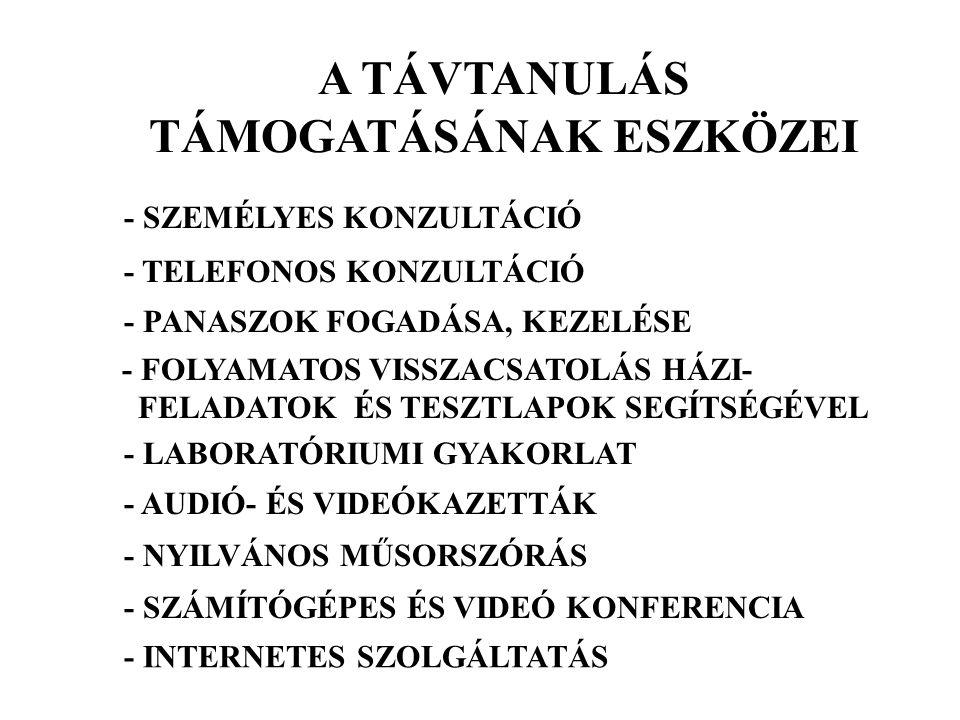 A TÁVTANULÁS TÁMOGATÁSÁNAK ESZKÖZEI - SZEMÉLYES KONZULTÁCIÓ - TELEFONOS KONZULTÁCIÓ - PANASZOK FOGADÁSA, KEZELÉSE - FOLYAMATOS VISSZACSATOLÁS HÁZI- FE
