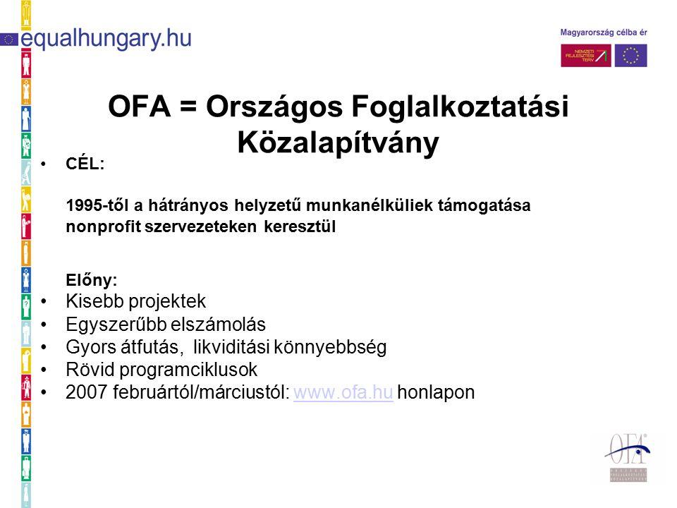 OFA = Országos Foglalkoztatási Közalapítvány CÉL: 1995-től a hátrányos helyzetű munkanélküliek támogatása nonprofit szervezeteken keresztül Előny: Kisebb projektek Egyszerűbb elszámolás Gyors átfutás, likviditási könnyebbség Rövid programciklusok 2007 februártól/márciustól: www.ofa.hu honlaponwww.ofa.hu