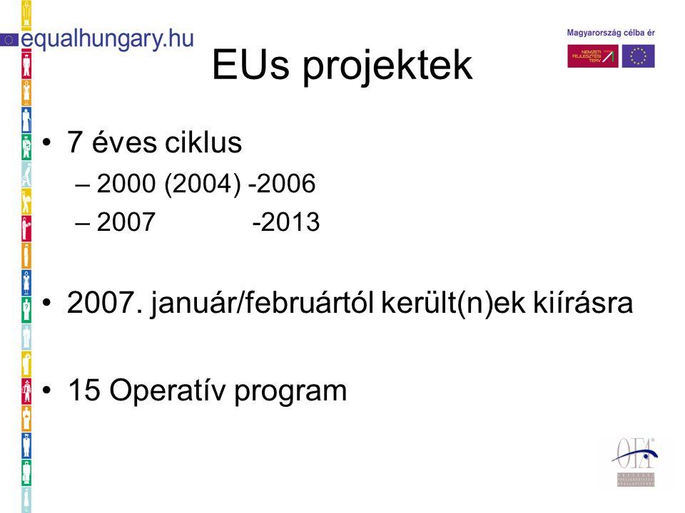 EUs projektek 7 éves ciklus –2000 (2004) -2006 –2007 -2013 2007.