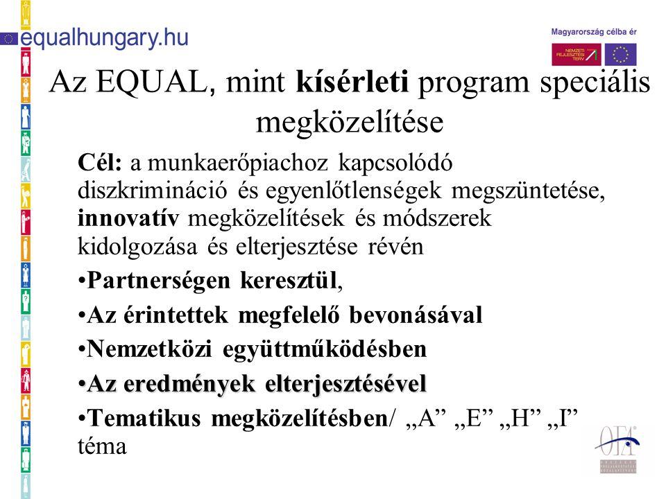 """A tematikus megközelítés A 39 magyar EQUAL program témája: """"A téma: A munkaerőpiac szempontjából hátrányos helyzetű emberek munkaerőpiacra való belépésének vagy visszailleszkedésének segítése """"E téma: Az egész életen át tartó tanulás és a """"befogadó munkahelyi gyakorlatok támogatása """"H téma: A nemek közötti munkaerő-piaci különbségek és a foglalkozási szegregáció csökkentése """"I téma: A menedékkérők társadalmi és munka-erőpiaci beilleszkedésének elősegítése"""
