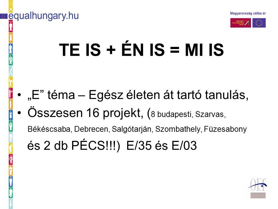 """TE IS + ÉN IS = MI IS """"E téma – Egész életen át tartó tanulás, Összesen 16 projekt, ( 8 budapesti, Szarvas, Békéscsaba, Debrecen, Salgótarján, Szombathely, Füzesabony és 2 db PÉCS!!!) E/35 és E/03"""