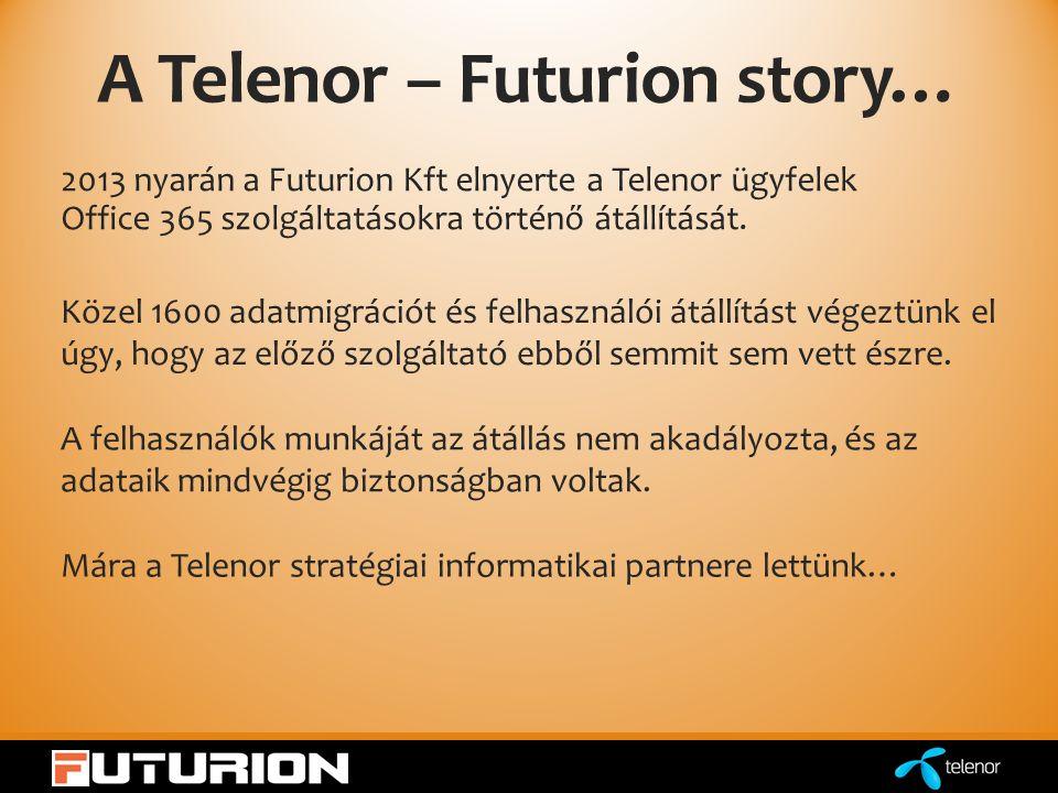 A Telenor – Futurion story… 2013 nyarán a Futurion Kft elnyerte a Telenor ügyfelek Office 365 szolgáltatásokra történő átállítását.