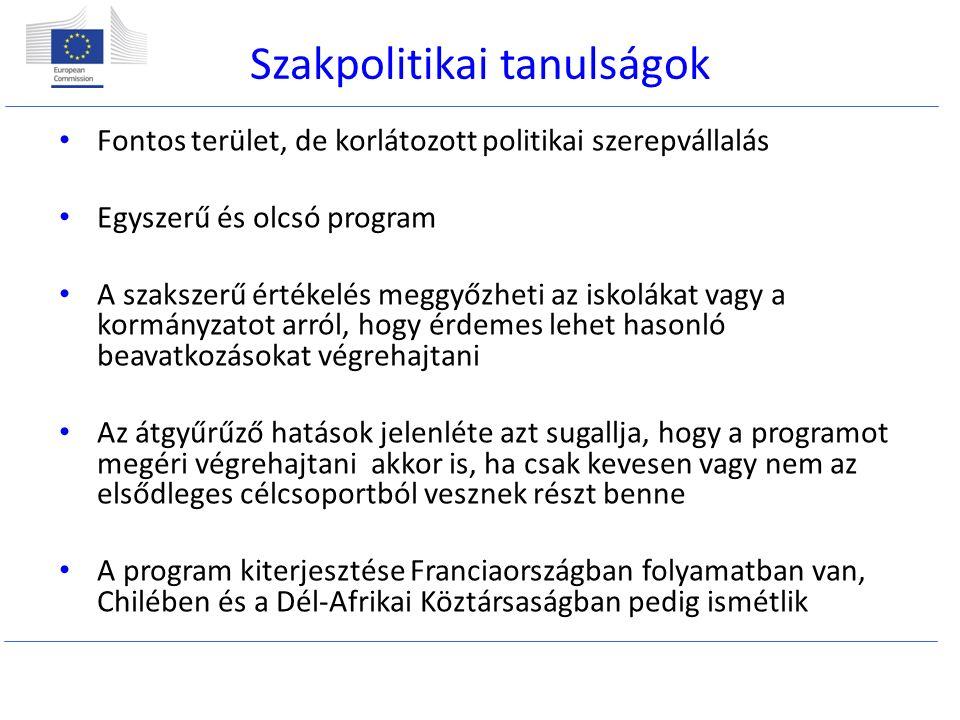 Szakpolitikai tanulságok Fontos terület, de korlátozott politikai szerepvállalás Egyszerű és olcsó program A szakszerű értékelés meggyőzheti az iskolákat vagy a kormányzatot arról, hogy érdemes lehet hasonló beavatkozásokat végrehajtani Az átgyűrűző hatások jelenléte azt sugallja, hogy a programot megéri végrehajtani akkor is, ha csak kevesen vagy nem az elsődleges célcsoportból vesznek részt benne A program kiterjesztése Franciaországban folyamatban van, Chilében és a Dél-Afrikai Köztársaságban pedig ismétlik