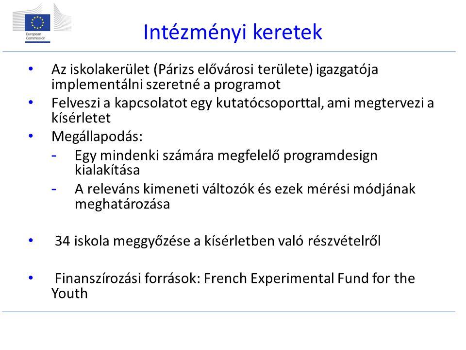 Intézményi keretek Az iskolakerület (Párizs elővárosi területe) igazgatója implementálni szeretné a programot Felveszi a kapcsolatot egy kutatócsoporttal, ami megtervezi a kísérletet Megállapodás: -Egy mindenki számára megfelelő programdesign kialakítása -A releváns kimeneti változók és ezek mérési módjának meghatározása 34 iskola meggyőzése a kísérletben való részvételről Finanszírozási források: French Experimental Fund for the Youth
