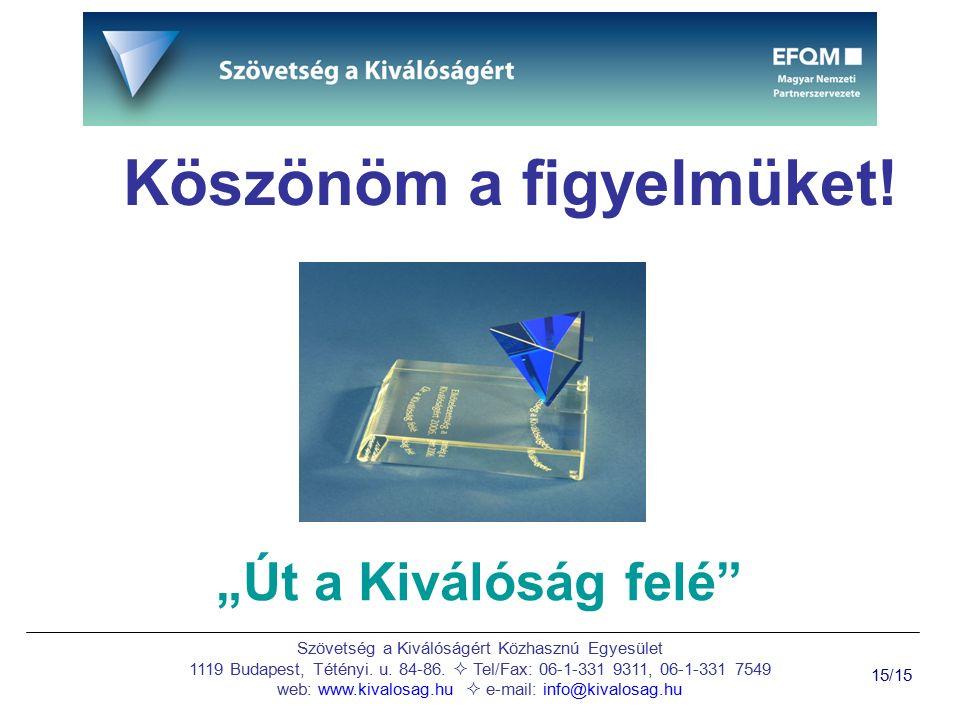 Szövetség a Kiválóságért Közhasznú Egyesület 1119 Budapest, Tétényi. u. 84-86.  Tel/Fax: 06-1-331 9311, 06-1-331 7549 web: www.kivalosag.hu  e-mail: