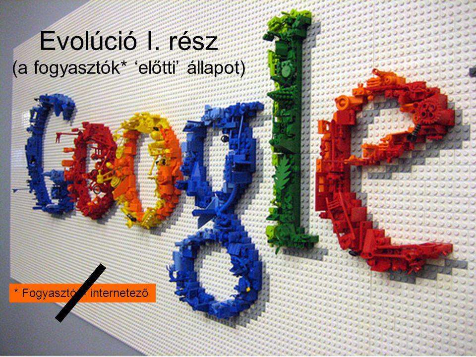 1. Volt a Gugli Evolúció I. rész (a fogyasztók* 'előtti' állapot) * Fogyasztó = internetező