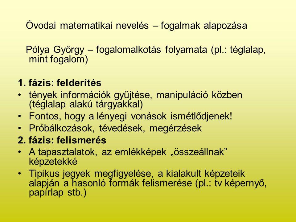Óvodai matematikai nevelés – fogalmak alapozása Pólya György – fogalomalkotás folyamata (pl.: téglalap, mint fogalom) 1. fázis: felderítés tények info