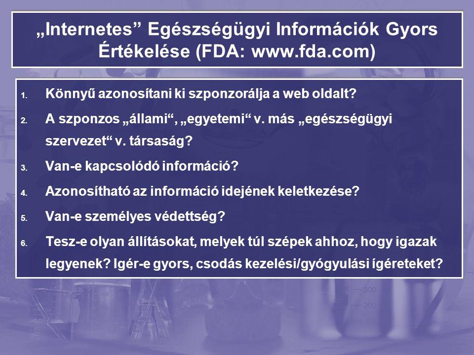 """""""Internetes Egészségügyi Információk Gyors Értékelése (FDA: www.fda.com) 1."""
