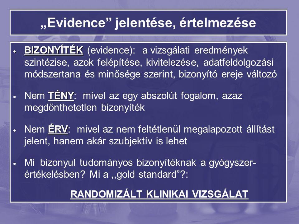 """""""Evidence jelentése, értelmezése BIZONYÍTÉK BIZONYÍTÉK (evidence): a vizsgálati eredmények szintézise, azok felépítése, kivitelezése, adatfeldolgozási módszertana és minősége szerint, bizonyító ereje változó TÉNY Nem TÉNY: mivel az egy abszolút fogalom, azaz megdönthetetlen bizonyíték ÉRV Nem ÉRV: mivel az nem feltétlenül megalapozott állítást jelent, hanem akár szubjektív is lehet Mi bizonyul tudományos bizonyítéknak a gyógyszer- értékelésben."""