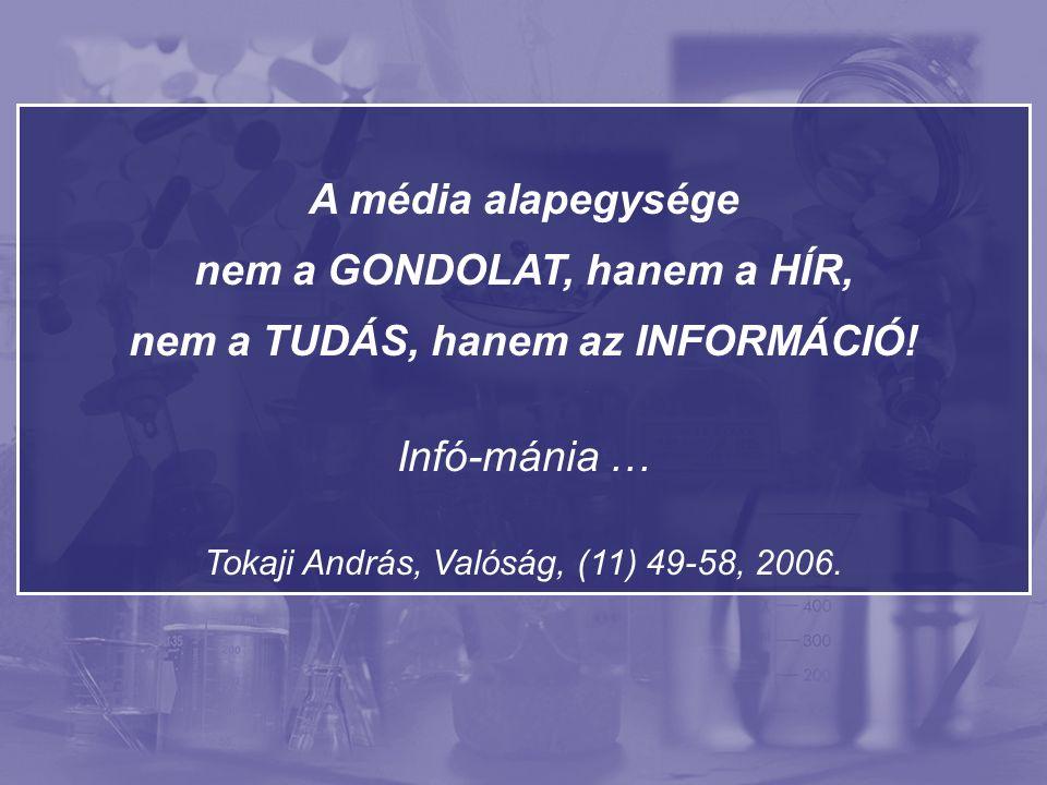 """""""… a tudáson alapuló meggyőződést csak ellenőrzött adatok és elemezés alapján adjuk fel, ellentétben az információval, melyet egy újabb ellentétes információ könnyen felülír. Tokaji András, Valóság, (11) 49-58, 2006."""