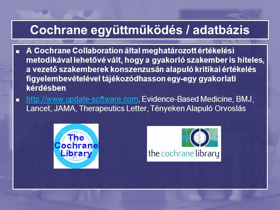 Cochrane együttműködés / adatbázis A Cochrane Collaboration által meghatározott értékelési metodikával lehetővé vált, hogy a gyakorló szakember is hiteles, a vezető szakemberek konszenzusán alapuló kritikai értékelés figyelembevételével tájékozódhasson egy-egy gyakorlati kérdésben http://www.update-software.com, Evidence-Based Medicine, BMJ, Lancet, JAMA, Therapeutics Letter, Tényeken Alapuló Orvoslás http://www.update-software.com A Cochrane Collaboration által meghatározott értékelési metodikával lehetővé vált, hogy a gyakorló szakember is hiteles, a vezető szakemberek konszenzusán alapuló kritikai értékelés figyelembevételével tájékozódhasson egy-egy gyakorlati kérdésben http://www.update-software.com, Evidence-Based Medicine, BMJ, Lancet, JAMA, Therapeutics Letter, Tényeken Alapuló Orvoslás http://www.update-software.com