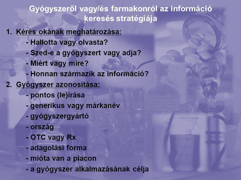 Gyógyszeről vagy/és farmakonról az információ keresés stratégiája 1.Kérés okának meghatározása: - Hallotta vagy olvasta.