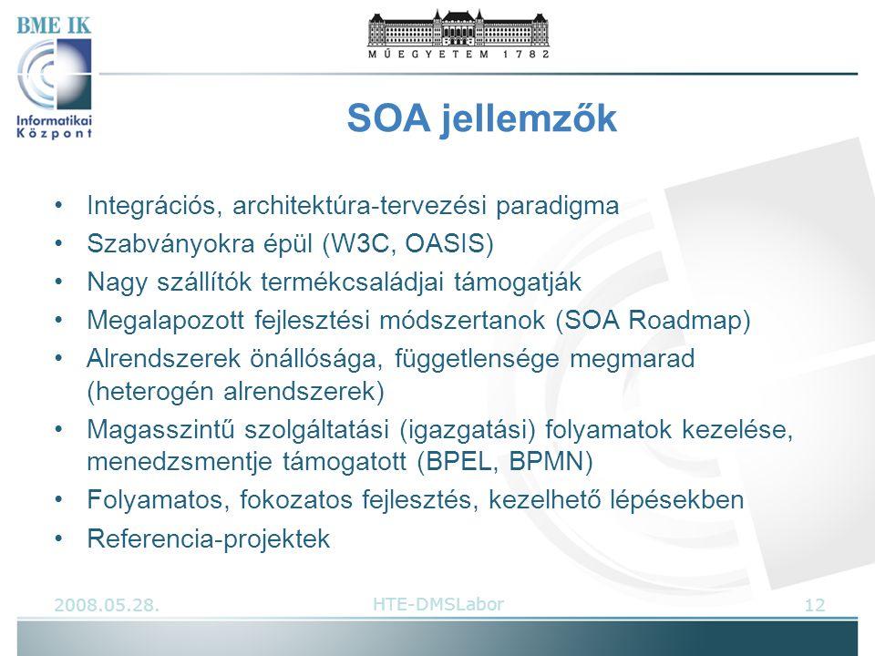SOA jellemzők Integrációs, architektúra-tervezési paradigma Szabványokra épül (W3C, OASIS) Nagy szállítók termékcsaládjai támogatják Megalapozott fejlesztési módszertanok (SOA Roadmap) Alrendszerek önállósága, függetlensége megmarad (heterogén alrendszerek) Magasszintű szolgáltatási (igazgatási) folyamatok kezelése, menedzsmentje támogatott (BPEL, BPMN) Folyamatos, fokozatos fejlesztés, kezelhető lépésekben Referencia-projektek 2008.05.28.12HTE-DMSLabor