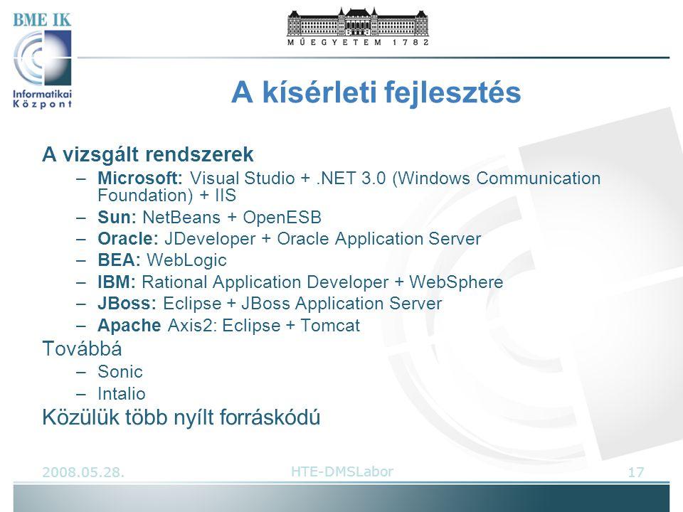 A kísérleti fejlesztés A vizsgált rendszerek –Microsoft: Visual Studio +.NET 3.0 (Windows Communication Foundation) + IIS –Sun: NetBeans + OpenESB –Oracle: JDeveloper + Oracle Application Server –BEA: WebLogic –IBM: Rational Application Developer + WebSphere –JBoss: Eclipse + JBoss Application Server –Apache Axis2: Eclipse + Tomcat Továbbá –Sonic –Intalio Közülük több nyílt forráskódú 2008.05.28.17HTE-DMSLabor