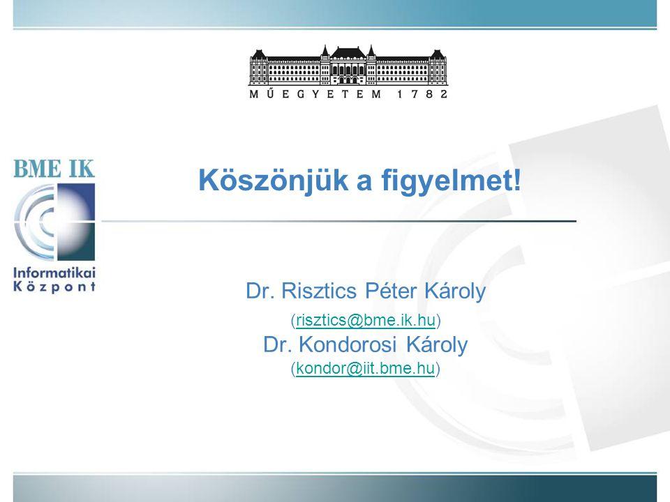 Köszönjük a figyelmet. Dr. Risztics Péter Károly (risztics@bme.ik.hu)risztics@bme.ik.hu Dr.