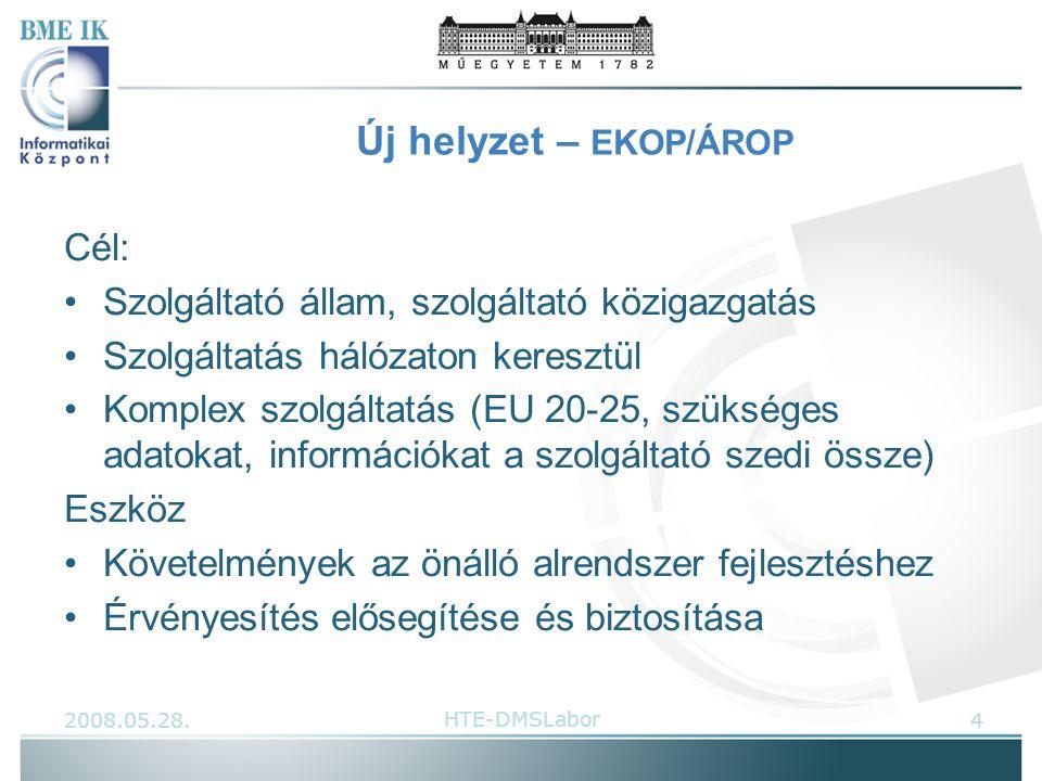 Új helyzet – EKOP/ÁROP Cél: Szolgáltató állam, szolgáltató közigazgatás Szolgáltatás hálózaton keresztül Komplex szolgáltatás (EU 20-25, szükséges adatokat, információkat a szolgáltató szedi össze) Eszköz Követelmények az önálló alrendszer fejlesztéshez Érvényesítés elősegítése és biztosítása 2008.05.28.4HTE-DMSLabor
