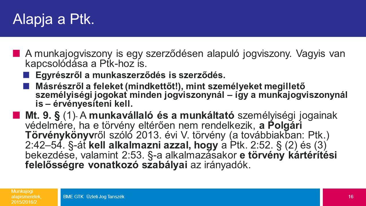 Alapja a Ptk. A munkajogviszony is egy szerződésen alapuló jogviszony. Vagyis van kapcsolódása a Ptk-hoz is. Egyrészről a munkaszerződés is szerződés.