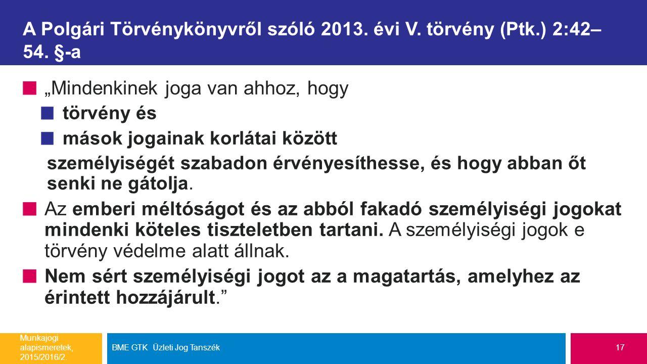 """A Polgári Törvénykönyvről szóló 2013. évi V. törvény (Ptk.) 2:42– 54. §-a """"Mindenkinek joga van ahhoz, hogy törvény és mások jogainak korlátai között"""