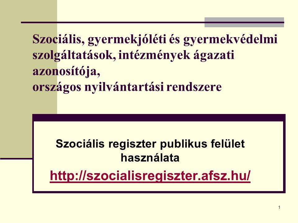 1 Szociális, gyermekjóléti és gyermekvédelmi szolgáltatások, intézmények ágazati azonosítója, országos nyilvántartási rendszere Szociális regiszter publikus felület használata http://szocialisregiszter.afsz.hu/